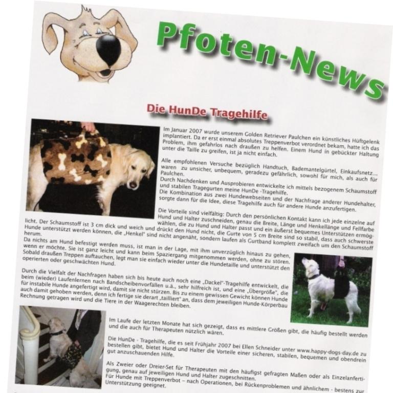 Bericht über Hundetragehilfen in Pfoten news